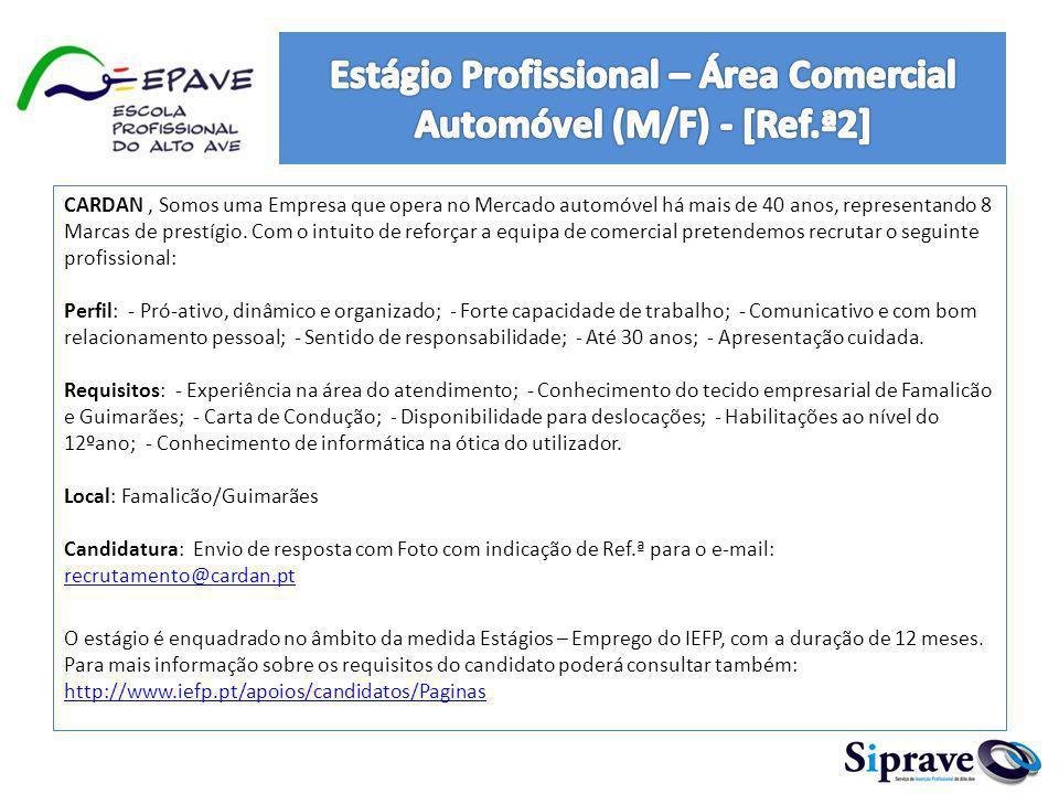 Estágio Profissional – Área Comercial Automóvel (M/F) - [Ref.ª2]